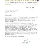 Appreciation Letter, HUJI